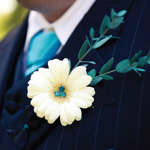 White Gerbera Daisy With Teal Rhinestone Applique